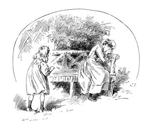 Antique children's book comic illustration: girl and crying woman