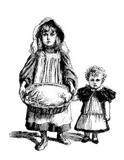 Antique children's book comic illustration: children with basket
