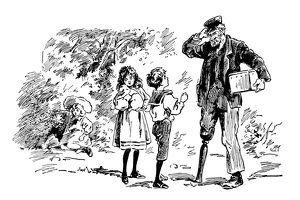 Antique children's book comic illustration: children with man