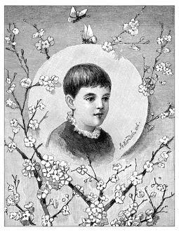 Antique children's book comic illustration: Little boy portrait with flowers