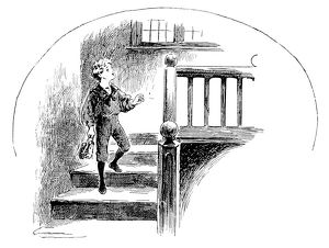 Antique children's book comic illustration: boy on staircase holding shoes