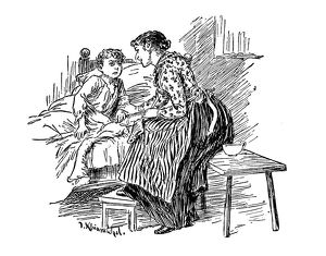 Antique children's book comic illustration: mother talking to son