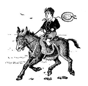 Antique children's book comic illustration: boy riding donkey