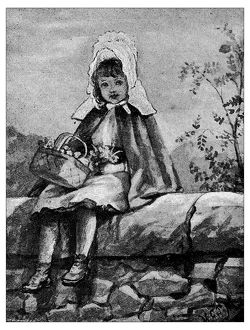 Antique children's book comic illustration: little girl outdoor with basket