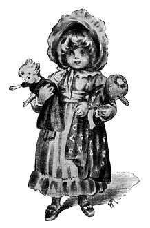 Antique children's book comic illustration: little girl with dolls