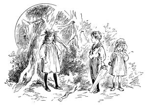 Antique children's book comic illustration: children in woods