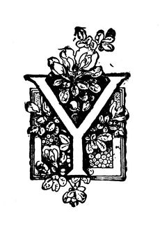 Antique children's book comic illustration: Ornate letter Y