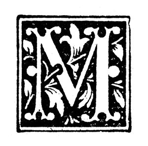 Antique children's book comic illustration: Ornate letter M