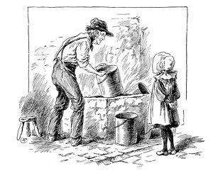 Antique children's book comic illustration: girl and grandpa