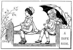 Antique children's book comic illustration: girls playing on fence