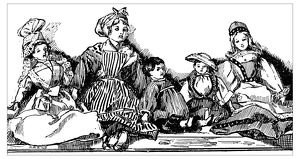 Antique children's book comic illustration: five dolls