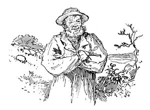 Antique children's book comic illustration: farmer