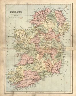 Antique damaged map of Ireland in the 19th Century