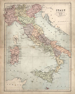 Antique damaged map of Italy 19th Century