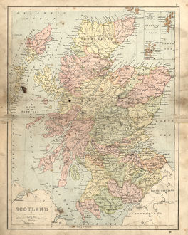 Antique damaged map of Scotland in the 19th Century