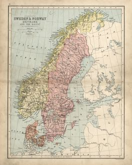 Antique damaged map of Swden Norway Denmark 19th Century