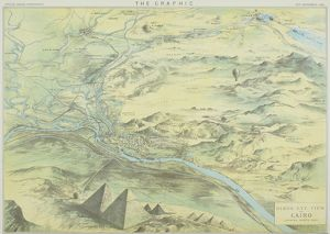 Antique engraving depicting bird's eye view of Cairo