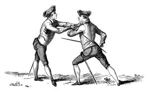 Antique illustration of fencing lesson