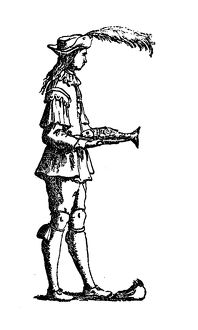Antique illustration of humanized letter E with shape of man