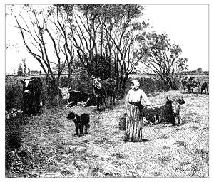 Antique illustration of landscape with animals and farmer