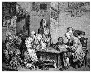 Antique illustration of people with book