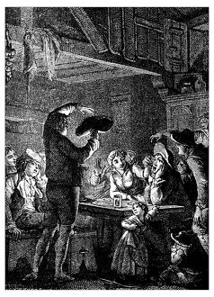 Antique illustration of people indoor