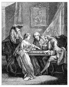 Antique illustration of people indoor playing game