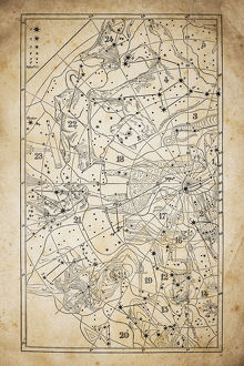 Antique illustration on yellow aged paper: zodiac astrology constellations (series 1)