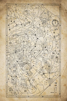 Antique illustration on yellow aged paper: zodiac astrology constellations (series 9)