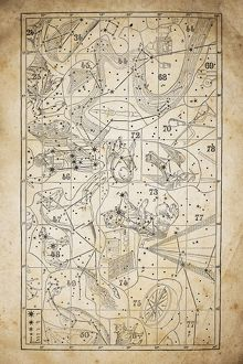 Antique illustration on yellow aged paper: zodiac astrology constellations (series 5)