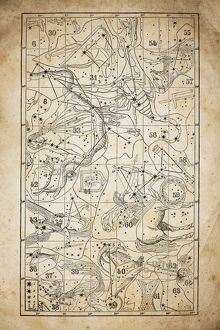 Antique illustration on yellow aged paper: zodiac astrology constellations (series 3)