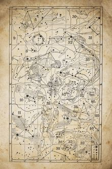 Antique illustration on yellow aged paper: zodiac astrology constellations (series 2)