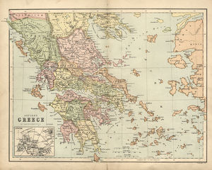 Antique map of Ancient Greece