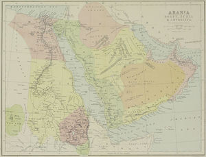Antique map of Arabia with Egypt , Nubia , and Abyssinia