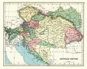 Antique map of Austrian Empire, 1897, late 19th Century