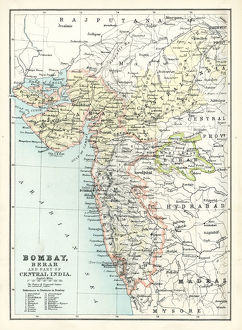Antique map of Bombay, India, 19th Century
