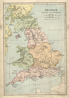 Antique map of Britain under the Ancient Romans