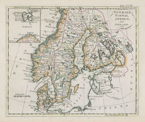 Antique map of Denmark, Norway, Sweden and Finland