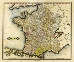 Antique map of France in Provinces, 1831