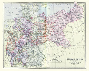 Antique map of Germany, 19th Century, 1880s