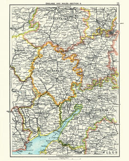 Antique map, Hereford, Worester, Monmouth, Gloucester, Shropshire, 19th Century