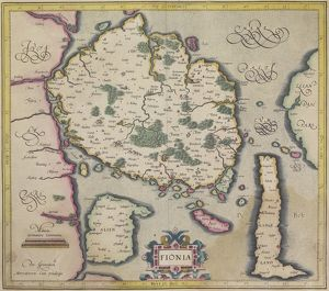 Antique map of island of Fionia in Denmark