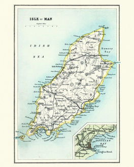 Antique map, Isle of Man 19th Century
