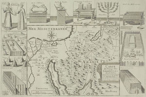 Antique map of Israel with vignettes