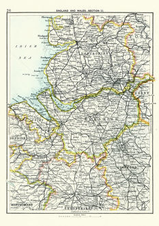 Antique map, Lancashire, Cheshire, Stafford, Liverpool, 19th Century
