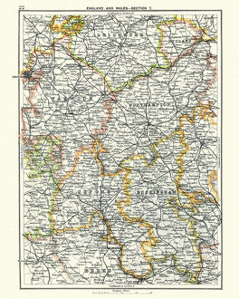 Antique map, Leicester, Warwick, Northampton, Oxford, Buckingham 19th Century