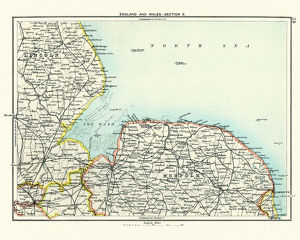 Antique map, Lincoln and Norfolk, England 19th Century