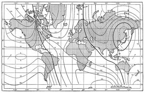 Antique map of lines of equal magnetic declination, 1885