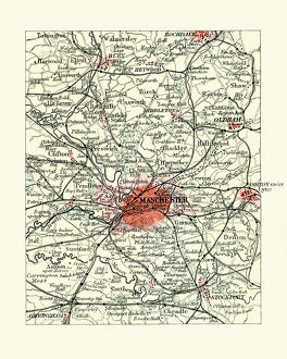 Antique map, Manchester, England, 19th Century