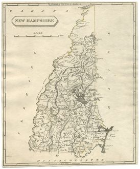 Antique map of New Hampshire USA 19th century 1819